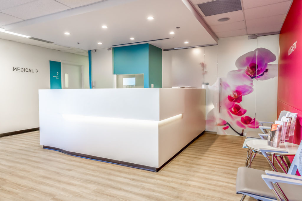 Front office of Market Mall Dermatology in Calgary